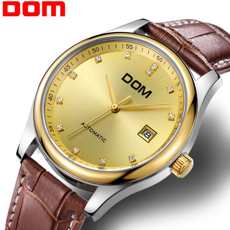DOM Wristwatch Men Luxury Business Mechanical Gold Watch Waterproof Leather Simple Automatic Watch Men Relogio Masculino M-95DOM Wristwatch Men Luxury Business Mechanical Gold Watch Waterproof Leather Simple Automatic Watch Men Relogio Masculino M-95