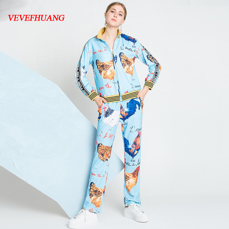 VEVEFHUANG Autumn Winter New Casual Pants Set Women Long Sleeve Jackets + Long Pants Letter Chicken Printing Blue Two-Piece Set