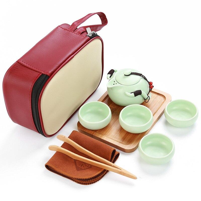 Portable travel tea set,Red bag+1 pot+4 cups+1 tray+1 towel+1 clip,beautiful Kungfu tea set,ceramic tea pot,china cups,for puer