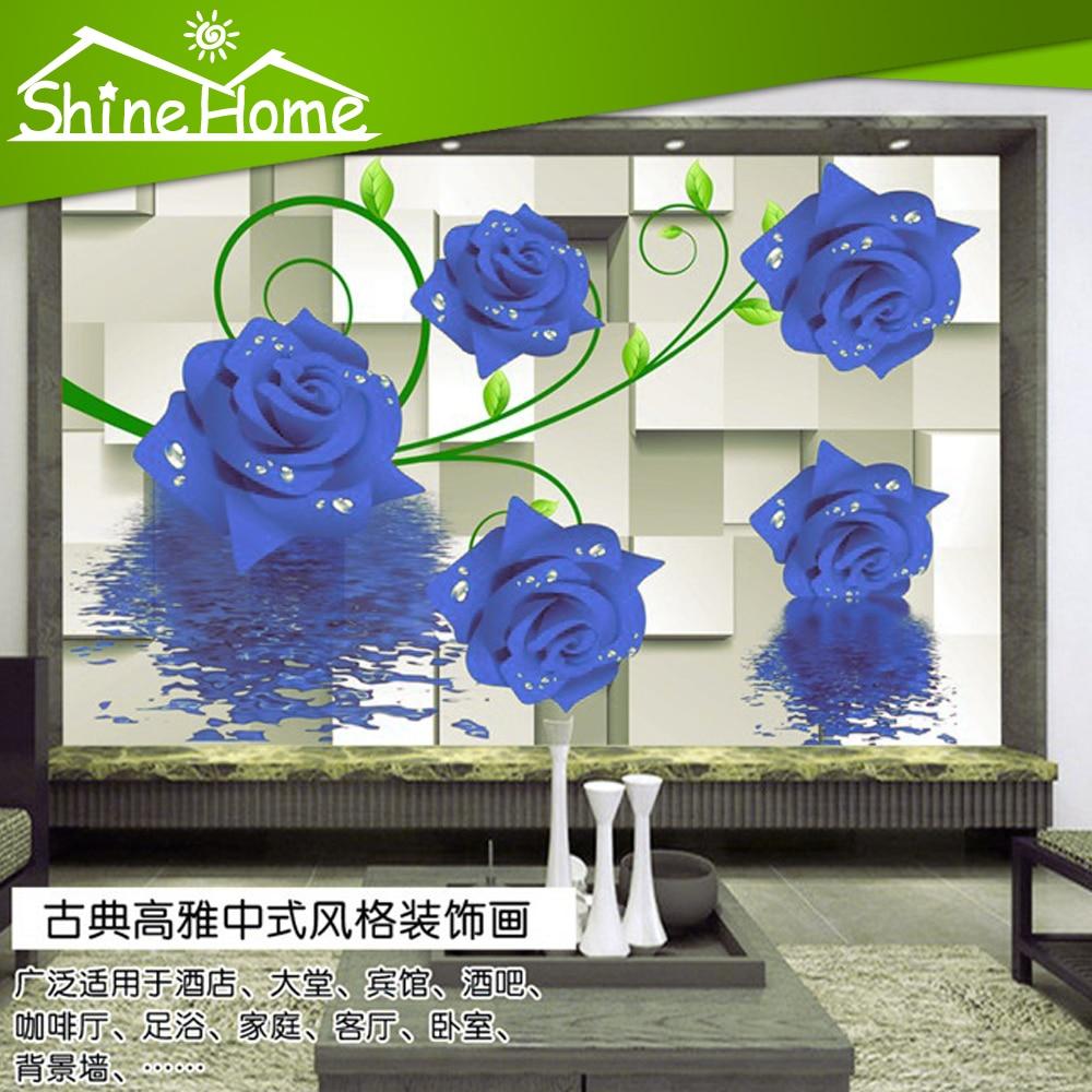Carrelage Salle De Bain Dore ~  Bleu Rose Romantique 3d Papier Peint Au Mur 3 D Plancher Brique