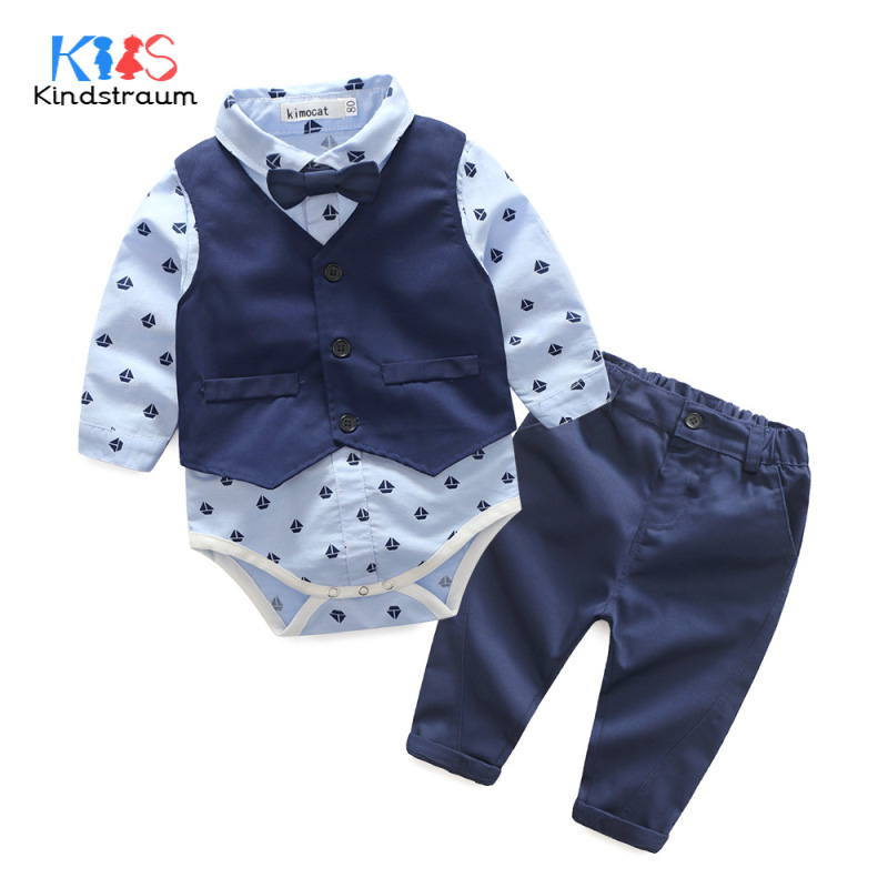 Kindstraum 3pcs Baby Boys Clothing Sets Gentleman Boat Printed Shirt Romper+Vest+Pant Toddler Wedding Formal Suits, MC936 kindstraum school trend boys formal clothing suits shirt vest pants tie 4 pcs set children sets party