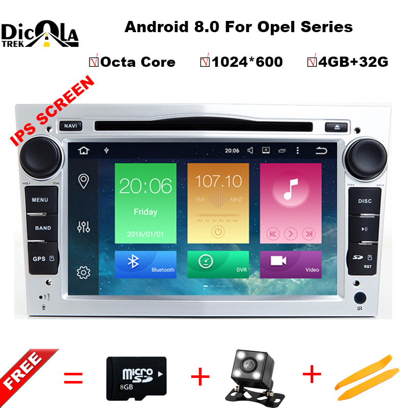 1024*600 4G+32G Octa Core Android 8.0 2 din Car DVD Stereo for Vauxhall Opel Astra H G Vectra Antara Zafira Corsa GPS Navi Radio hotmeini 2 x cold water droplets shape pirates assassins creed kull car sticker for wall suv window door vinyl decal 9 colors