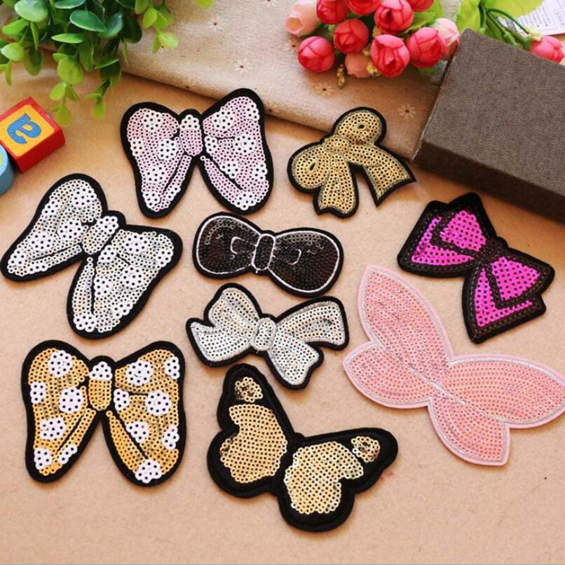 DOUBLEHEE Sequined Patch Embroidered Patches For Clothing Iron On For Close Shoes Bags Badges Embroidery in Patches from Home Garden