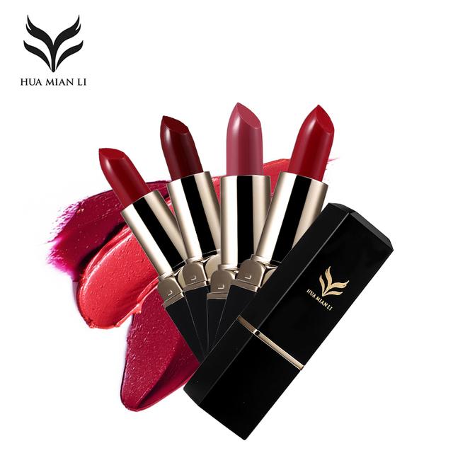 HUAMIANLI Brand 12 Color Matte Lipstick Waterproof Lip Stick Make Up Moisturizing Lip Balm Batom Long Lasting Lip Gloss Cosmetic
