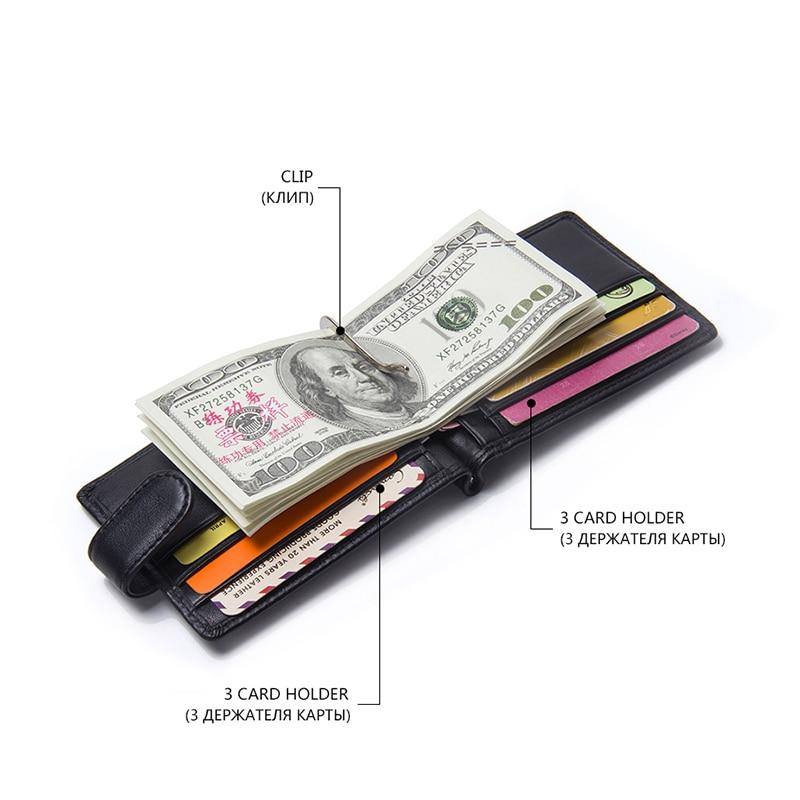CONTACT'S Fashion Genuine Leather Money Clips High Quality Cow Leather Men Wallets Hasp Mini Purses vintage Men Wallet 1