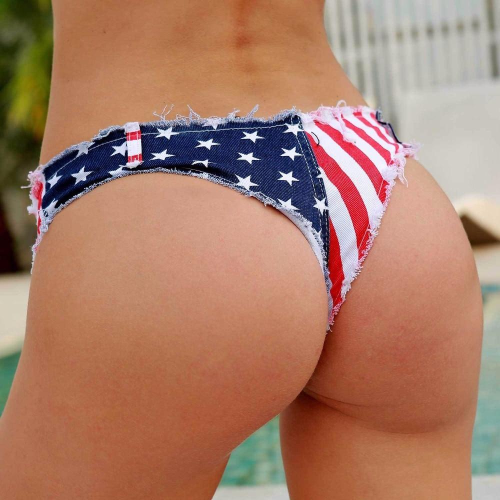 New 2019 Sexy Women's Low Waist Daisy Duke Ripped Denim Shorts American Flag Booty Short Cheeky Denim Thong Shorts