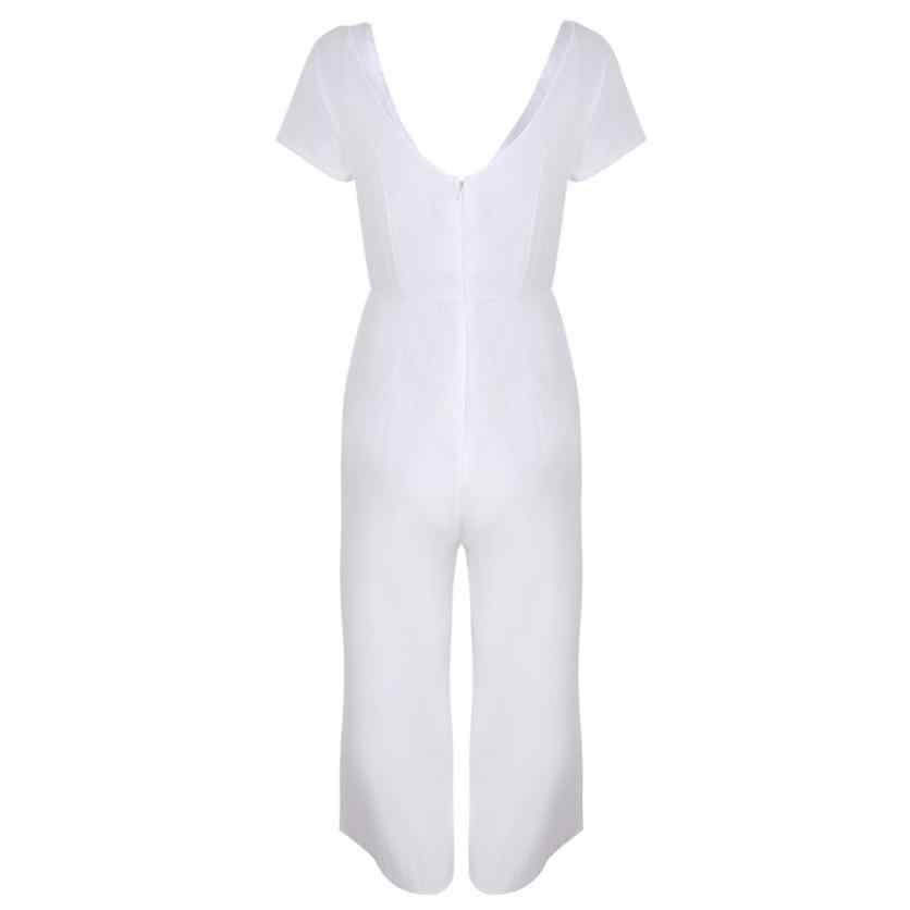 3b45a56f6cb ... Feitong Womens Jumpsuit Solid Sexy V-Neck Short Sleeve Long Playsuits  Wide Leg Trouser Jumpsuit