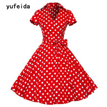 YUFEIDA Women Vintage Dress Retro 50s 60s Hepburn Style Female Elegant Party Sundress Sashes Short Sleeves Polka Dots Dresses