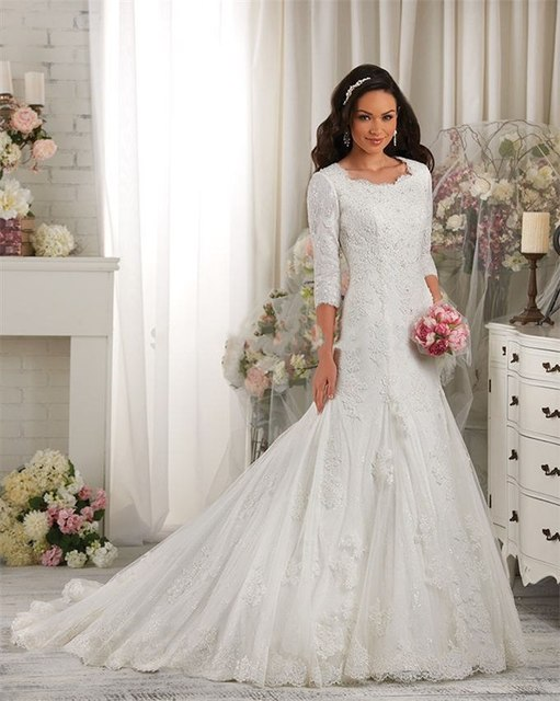 2016 Newly Luxury Perfect White Lace Applique Modest Wedding Dresses 3 4 Sleeves Custom Made