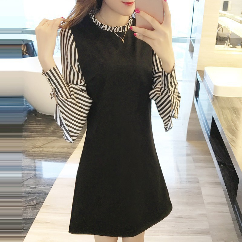 oioninos Fashion Women Mini Dress Striped stitching Floral Collar Autumn <font><b>Sexy</b></font> Dresses Long Lantern Sleeve Plus Size Vestidos image