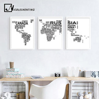Brief Weltkarte Poster Leinwand Minimalistischen Wandkunst Malerei Schwarz Weiß Dekorative Bild für Wohnzimmer Dekoration