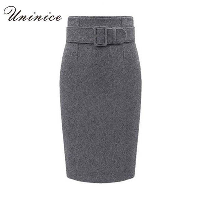 e1c3d8eec0 Hot Sales Woolen Women Pencil Skirts Women With a Belt Autumn/Winter OL  Style Working