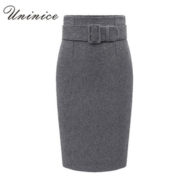 bae6ca2ff Hot Sales Woolen Women Pencil Skirts Women With a Belt Autumn/Winter OL  Style Working