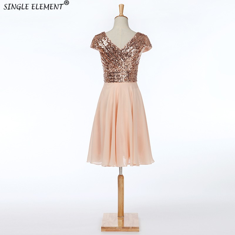 SINGLE ELEMENT Real Photo Fashion Cap Sleeve Sequin Knee Length Short   Bridesmaid     Dresses   Under 50