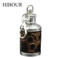 HIBOUR Mini Round Hip Flask With 304 Stainless Steel With Keychain Portable Leather Hip Pocket Funnel