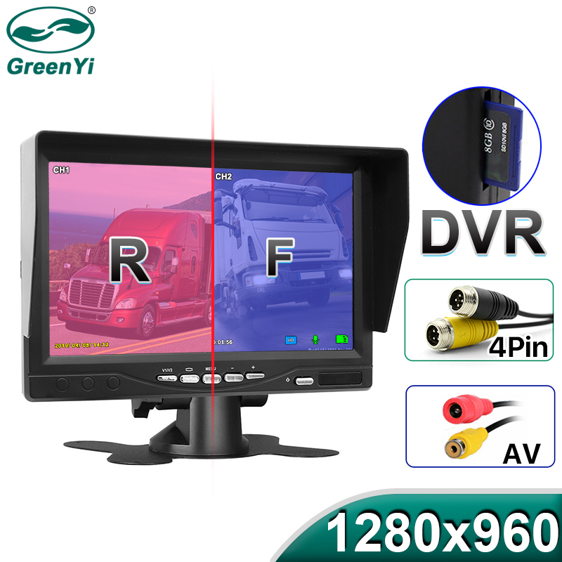GreenYi 1280 960 AHD Recording DVR 7 Inch Monitor with Top Truck No Color Difference Rear