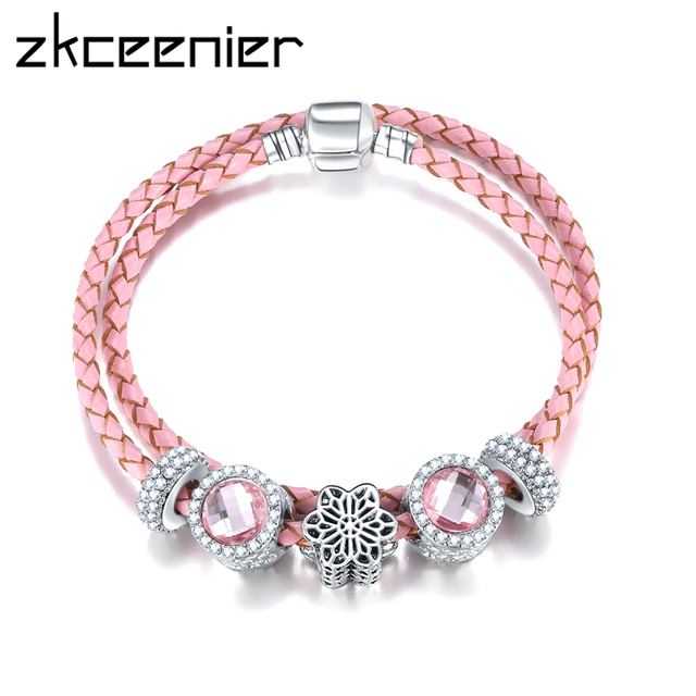 Newest Arrival Silver Charm Pink Leather Bracelet European Style Crystal Beads Fit Diy Original Pandora
