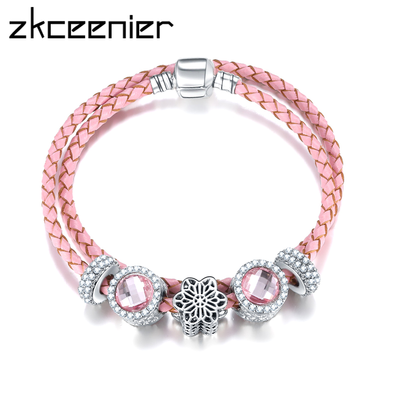 Newest Arrival Silver Charm Pink Leather Bracelet European Style Crystal Beads F