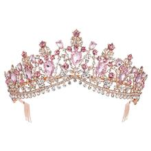 KMVEXO European Multiple Colors Crystal Tiaras Queen Bride Crowns with Comb Bridal Wedding Fashion Hair Jewelry Accessories 2019