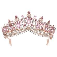 KMVEXO-Tiaras de cristal de varios colores para novia, corona de Reina con peine, accesorios de joyas para el pelo 2020
