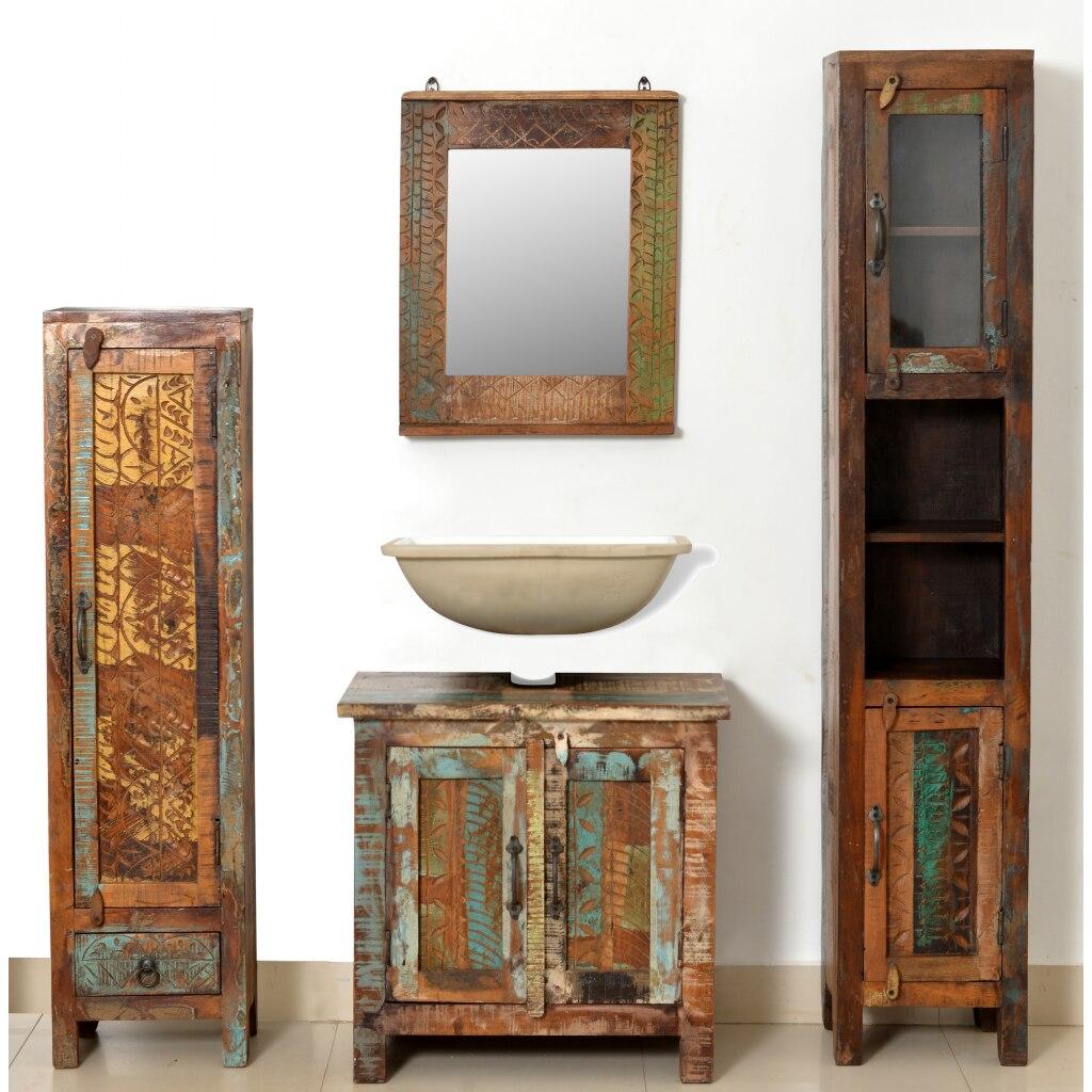 muebles de bao de madera reciclada con espejo y dos armarios laterales para el hogar nave