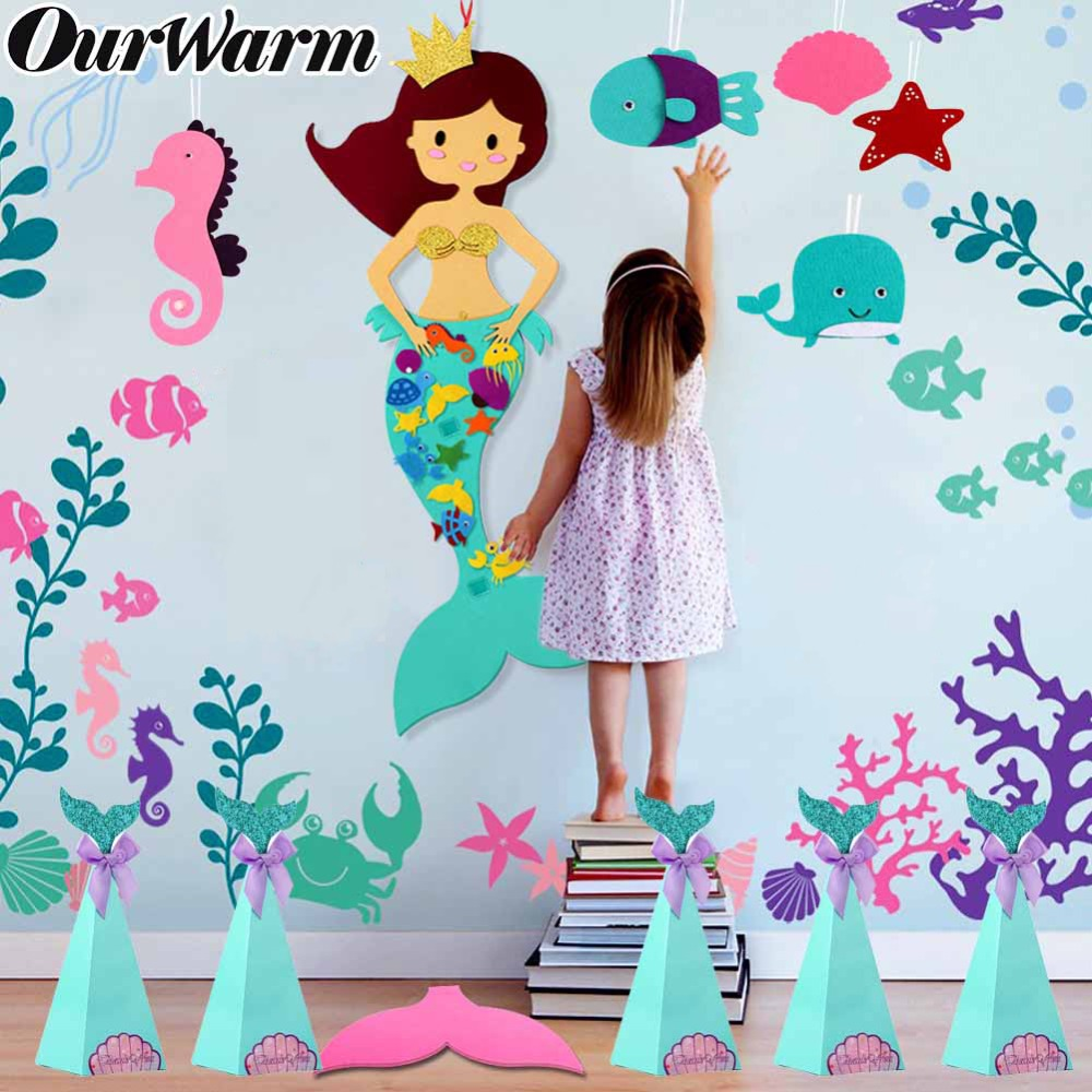 OurWarm Mermaid Birthday Gift Party Game DIY Candy Craft Paper Bags Chocolate Box Wedding Decoration Donut Theme