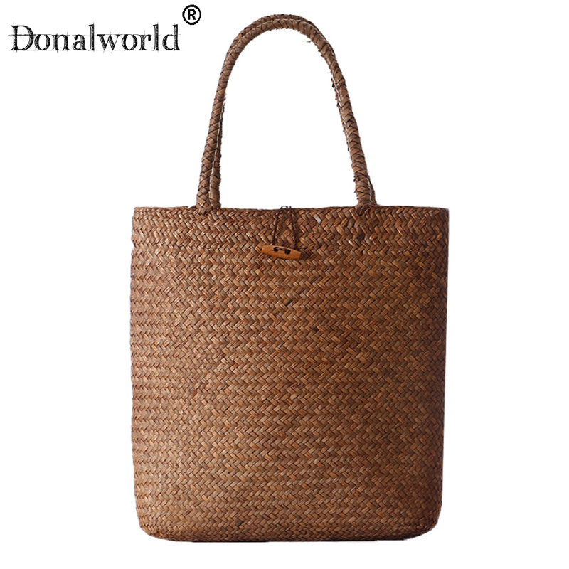 все цены на Donalworld 2018 Fashion Straw Bag Women handbag Summer Rattan Bags Handmade Woven beach bag Totes Shoulder Bags bolsa feminina онлайн