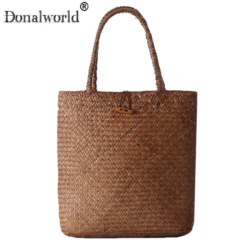 Donalworld 2018 Fashion Straw Bag Women handbag Summer Rattan Bags Handmade Woven beach bag Totes Shoulder Bags bolsa feminina