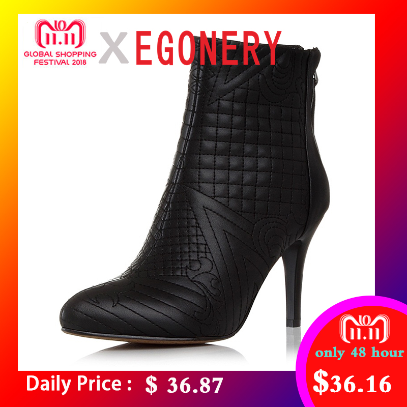 EGONERY winter ankle boots women shoes pointed toe embroidered genuine leather booties back zipper woman heels fashion boots все цены