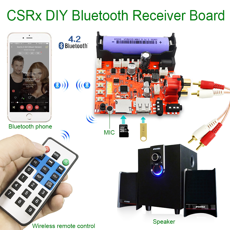 CSR 3.5mm wireless bluetooth audio receiver module DIY board MP3 music computer subwoofer stereo mini USB portable HiFi speaker usb wireless bluetooth audio receiver board mp3 music computer subwoofer stereo mini portable active hifi speaker for phone