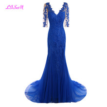 Royal Blue Mermaid Lace Evening Dresses Deep V Neck Tulle Prom Party Gowns Elegant Half Sleeves Sweep Train Formal vestido largo