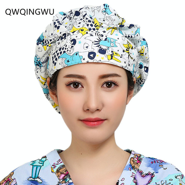 Doctor Man Woman Surgical Cap Scrub Cap Pattern Flower Printing Lab Scrub H  Bouffant Medical Surgical Surgery Hat Nursing Cap b15aae7d80a