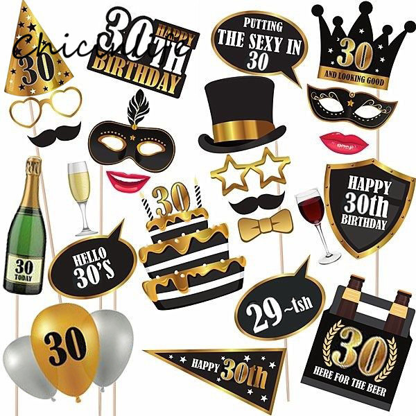 Chicinlife 24pcs/lot Happy 30 40 50 60th Birthday Photo Booth Props Birthday Anniversary Party Decoration Photobooth Props