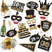 Chicinlife 24 Pz/lotto Felice 30 40 50 60th Birthday Photo Booth Puntelli di Compleanno Anniversario Decorazione Del Partito Photobooth Props