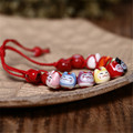 Top Quality Handmade Cute Lovely Ceramic Bracelet Lucky Cat Animal Charm Beaded Fortune Wish Bracelet for Men and Women Jewelry