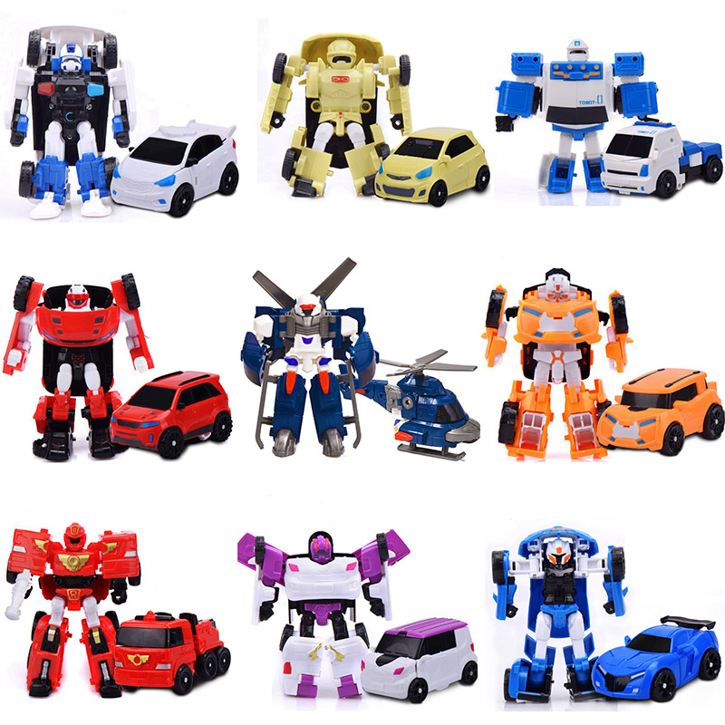 9Pcs Set Tobot 1 Generation Robot Transformation Action Figure Toy 9 Style Anime Characters MINI Car