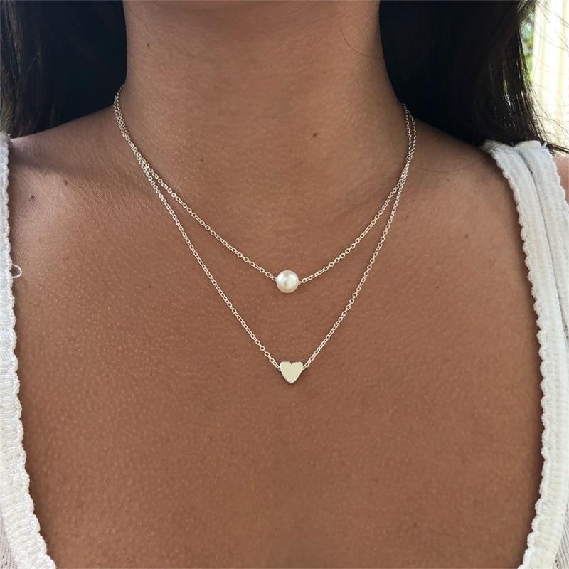 VKME модное жемчужное ожерелье с двойным слоем Love аксессуары Женское Ожерелье Bijoux подарки - Окраска металла: N643-2