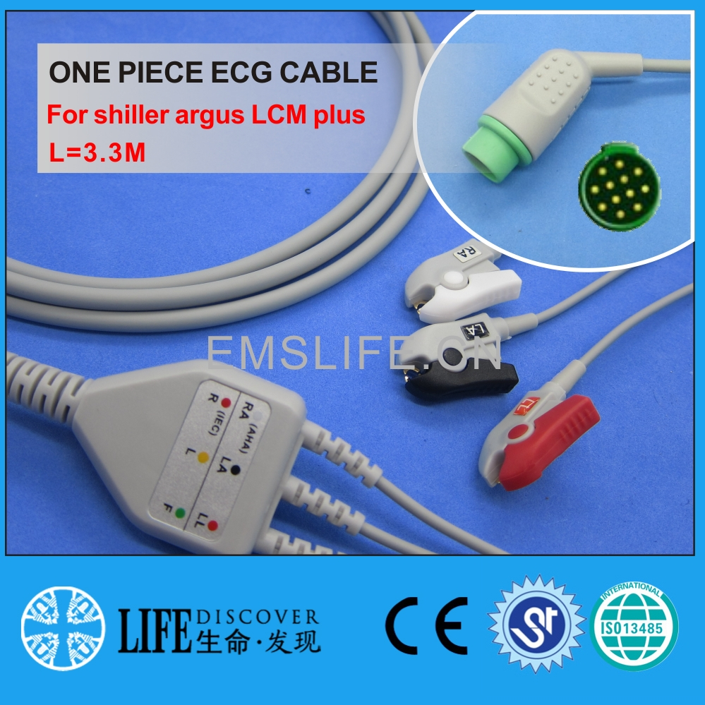 One Piece ECG Cable With 3 Clip Lead Wires For Schiller Argus LCM Plus Patient Monitor