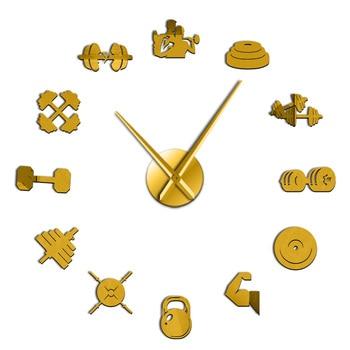 Bodybuilder Sport 3D DIY Wall Clock Unique Bodybuilding Gift For Fitness Lover Gym Acrylic Mirror Effect Wall Decor Clock Watch 7
