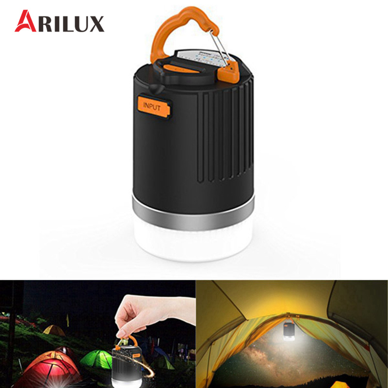 ARILUX 440 Lumens Portable Outdoor Camping Lantern Multifunction USB Rechargeable LED Light With 10400mAh Power Bank original romoss sense4 dual usb 10400mah power bank
