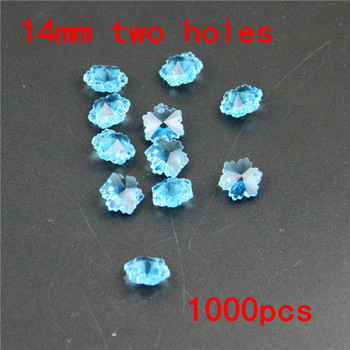 Beautify Rooms 1000pcs 14mm Aquamarine Snowflake Beads Crystal Chandelier Parts In 2 Holes Glass Loose Beads Hanging Prism Beads фото