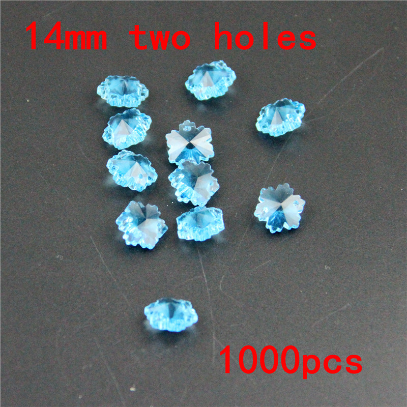 Beautify Rooms 1000pcs 14mm Aquamarine Snowflake Beads Crystal Chandelier Parts In 2 Holes Glass Loose Beads Hanging Prism Beads