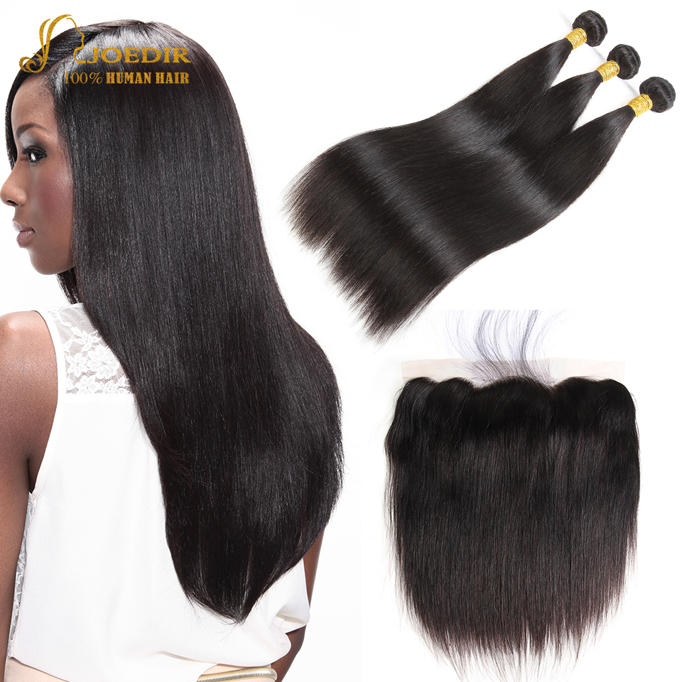 Joedir Straight Hair Bundles With Closure Wet And Wavy Bundles With Closure Brazilian Human Hair 3 Bundles With Frontal Closure