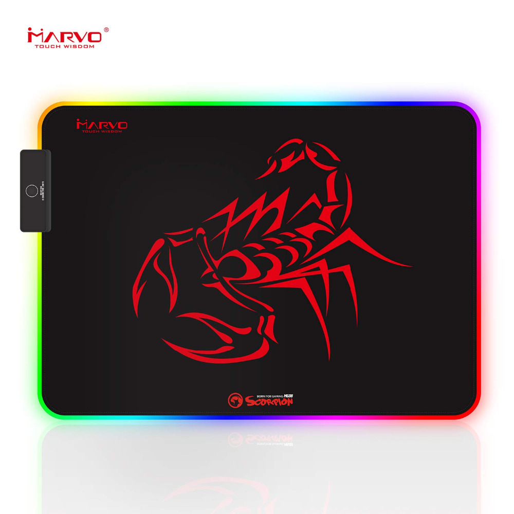 Marvo Mouse Pad, RGB Gaming Mouse Pad with Control Glowing Edging, Non-Slip Rubber Base Mousepad for Home, Office & Travel MG08Marvo Mouse Pad, RGB Gaming Mouse Pad with Control Glowing Edging, Non-Slip Rubber Base Mousepad for Home, Office & Travel MG08