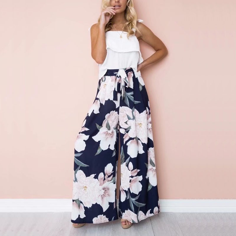 Newly Summer Women Sexy   Wide     Leg     Pants   High Waist Belt Floral Printed Girl Casual Trousers VK-ING