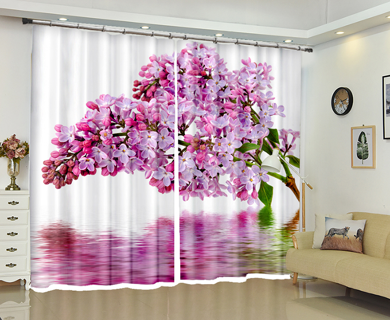 Purple Flowers print Luxury Modern 3D Blackout Window Curtain For Living room Bedroom Hotel Office Drapes Cortinas Rideaux Purple Flowers print Luxury Modern 3D Blackout Window Curtain For Living room Bedroom Hotel Office Drapes Cortinas Rideaux