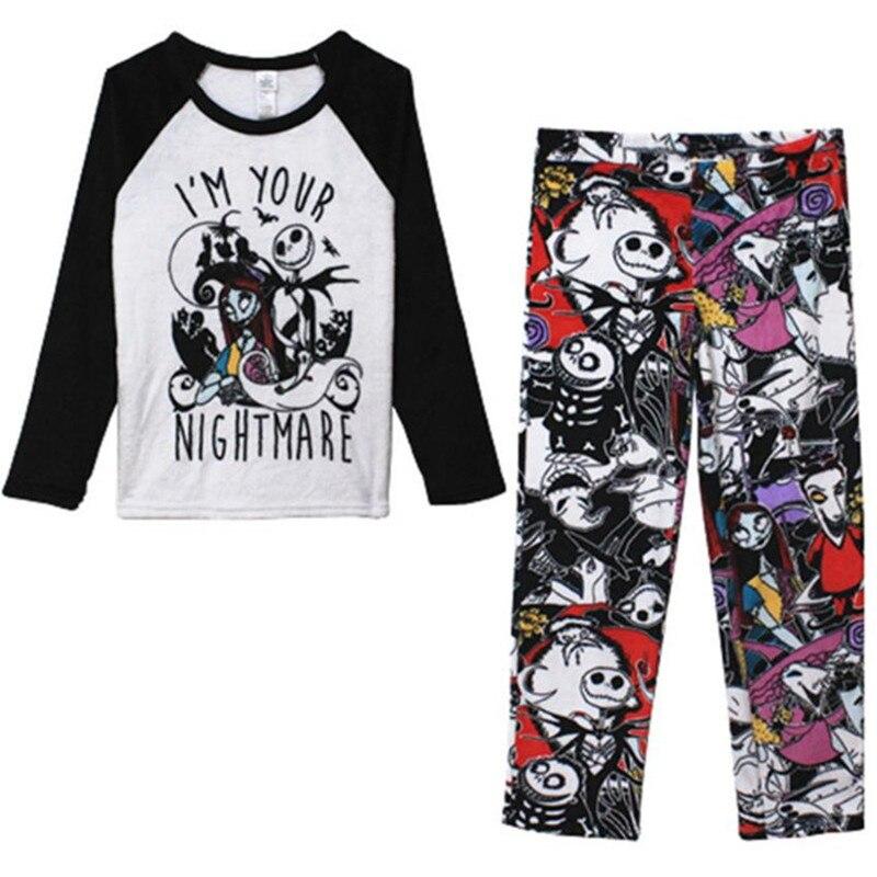 Nightmare Before Christmas Jack Skellingt Pajama Sleep Set Flannel Pajamas Suits Cosplay Costumes
