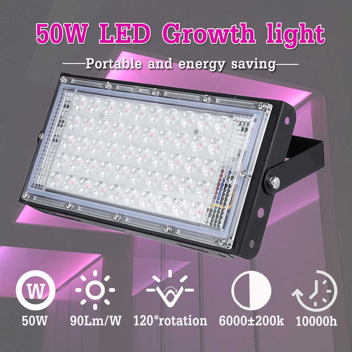 AC 220-240V LED Grow Light 50W Linear Spotlight Floodlight DIY Outdoor Lighting Indoor Hydroponic Flowers Farm Plants Grow Lamp