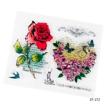 Rose and Heart Design Transparent Clear Silicone Stamp/seal for DIY Scrapbooking/photo Album Decorative Clear Stamp Sheets.