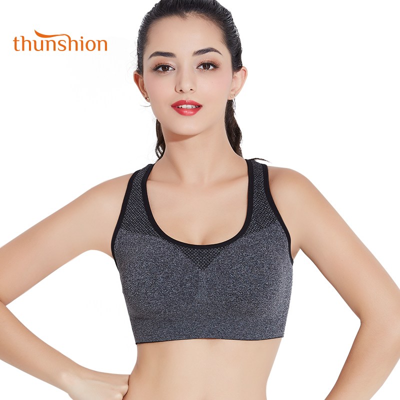 18b3dd61b Women Breathable Sports Bra Yoga Workout Stretch Fitness Bra Seamless Padded  Bra Women s Clothing Bras ...